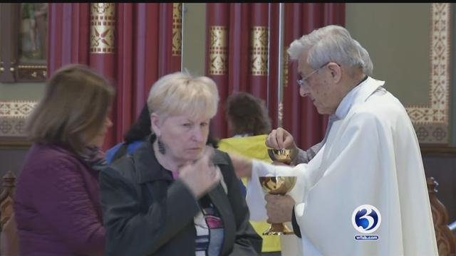 Roman Catholics attended midday mass at St. Patrick's Cathedral in Norwich. (WFSB)