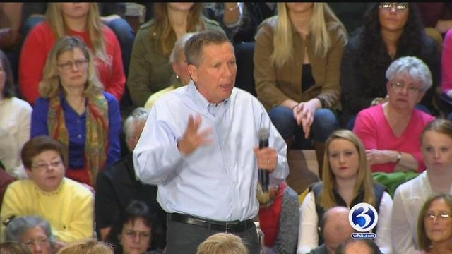 GOP presidential candidate John Kasich campaigns at Sacred Heart University. (WFSB)