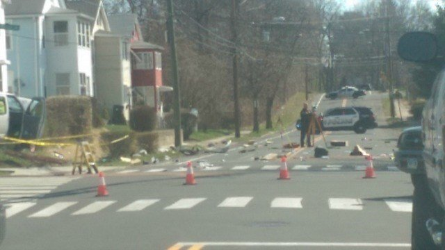 One vehicle drove into a walk light. (Eyewitness photo)