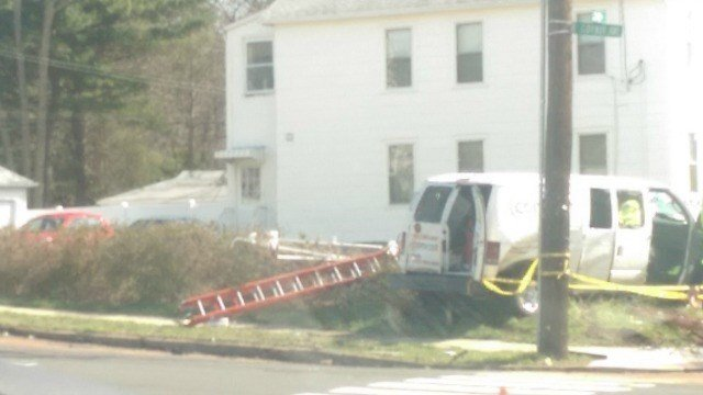 A Comcast truck was involved in a crash Saturday morning. (Eyewitness photo)