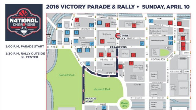 Here's a map of Sunday afternoon's UConn Huskies victory parade route. (@GovMalloyOffice)