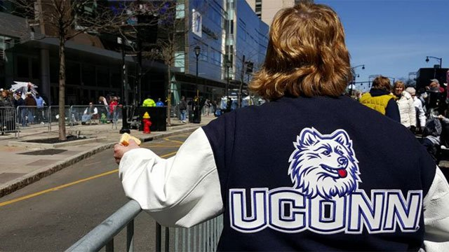 UConn fans lined the parade route ahead of the parade and rally in Hartford. (WFSB)