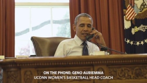 President Barack Obama on the phone with UConn Coach Geno Auriemma.  (White House photo)