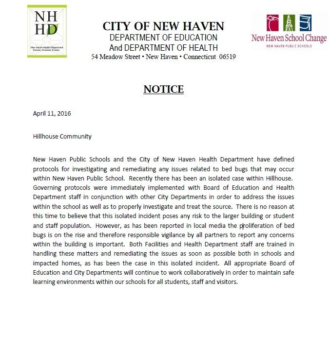 Copy of a letter sent home to parents of Hillhouse HS in New Haven. (WFSB photo)