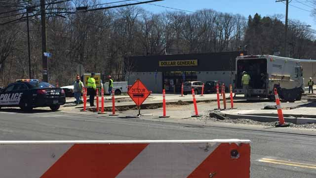 Crews are working to repair a gas leak in Terryville. (WFSB)
