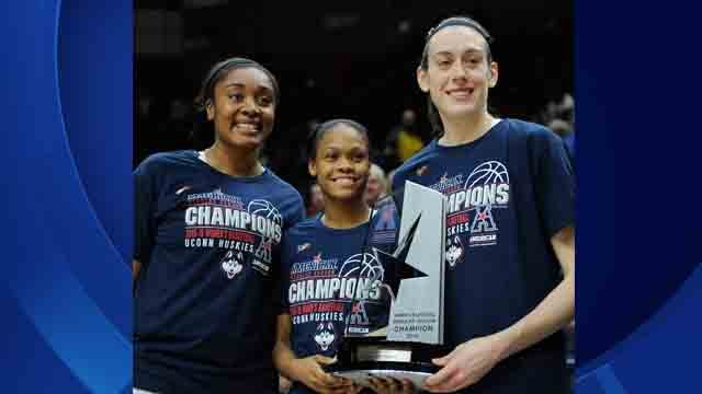 In this Feb. 24, 2016, file photo, Connecticut seniors, from left, Morgan Tuck, Moriah Jefferson and Breanna Stewart pose with American Athletic Conference regular season championship trophy (AP Images)