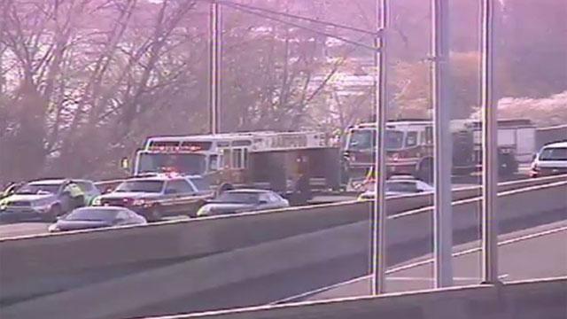 Crash snarls traffic on Interstate 91 in Hartford on Friday. (DOT)