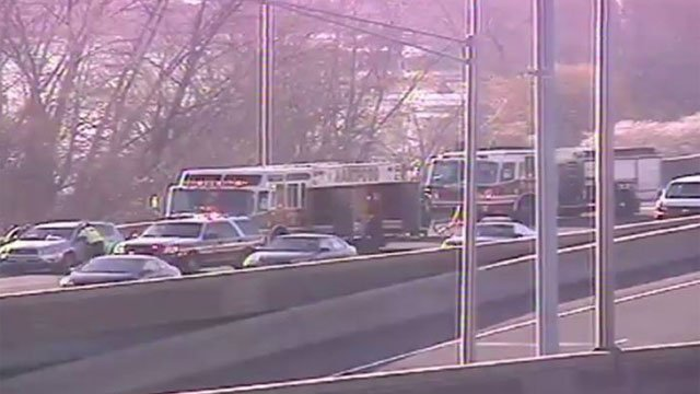 Crash snarls traffic on Interstate 91 in Hartford on Friday. (DOT)