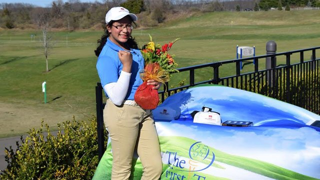 Meghna Mazumdar celebrates winning National Succeeding Together Contest. (First Tee of Connecticut)