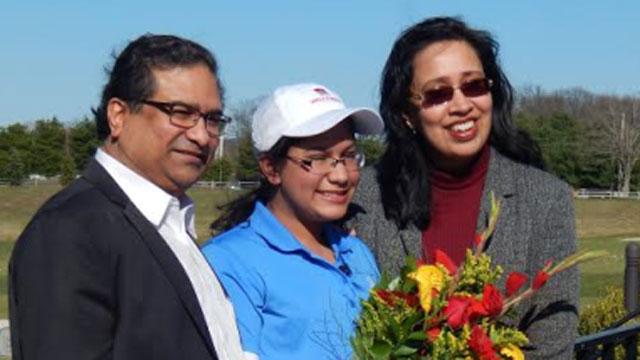 From left to right Manu Mazumdar, Meghna Mazumdar, Ruki Mazumdar (First Tee of Connecticut)
