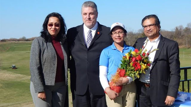 From left to right. Ruki Mazumdar, Kent McClun Wells Fargo Area President, Meghna Mazumdar, Manu Mazumdar  (First Tee of Connecticut)