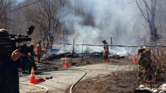 A vacant home in Ledyard is gone after a fire on Friday. (WFSB)