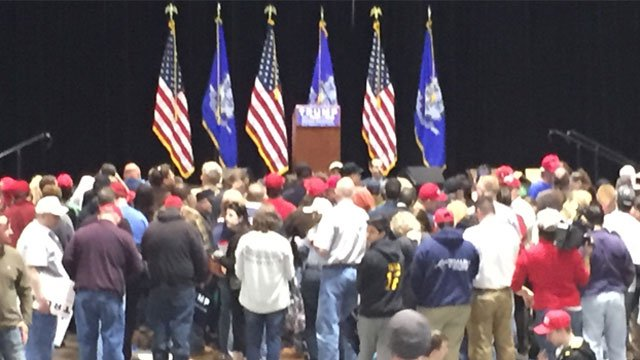 Trump Supporters Lining up inside the Convention Center. (WFSB)