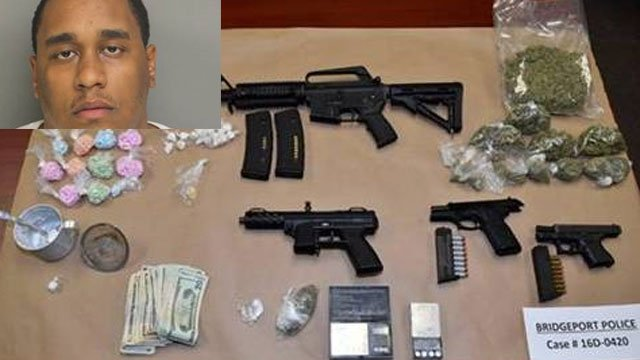Shannon Calhoun was arrested after the following items were seized by police. (Bridgeport Police Department)