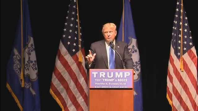Donald Trump speaks in Hartford. (WFSB)