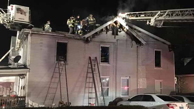 Ahouse in Ansoniawas badly damaged Sunday morning after a fire spread through the home. (Ansonia Fire Department Facebook)