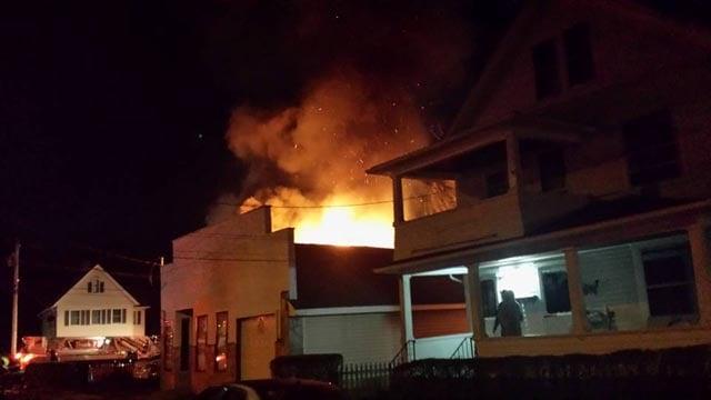 Crews battled a house fire in Ansonia (Nicole Ryan)