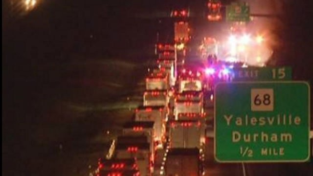 Rollover crash was reported on Interstate 91 northbound in Wallingford. (WFSB)