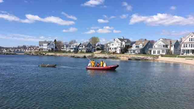 Crews were able to tow this boat back to shore after motor issues. (Milford Fire Department)