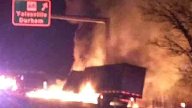 After the crash, the tractor-trailer caught on fire. (Wallingford and East Wallingford volunteer fire departments)