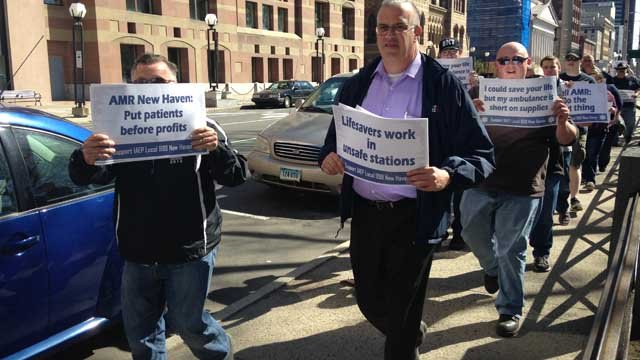 Ambulance service workers in the New Haven area were speaking out on Tuesday as they want to put patients first. (WFSB)