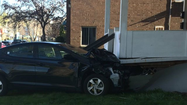 Car crashes into home on Laurel Street in Hartford. (WFSB)