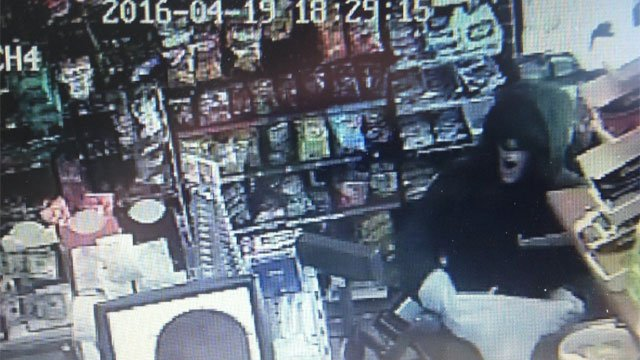 Surveillance picture shows attempted robbery in Wolcott. (WFSB)