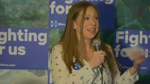 Chelsea Clinton campaigns for Hillary Clinton in Hartford on Wednesday. (WFSB)