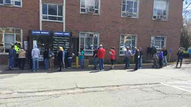 People waited to get inside the DMV in Wethersfield on Tuesday. (WFSB)