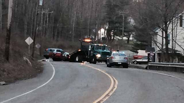 Serious crash closed Route 118 in Harwinton on Wednesday afternoon. (WFSB)