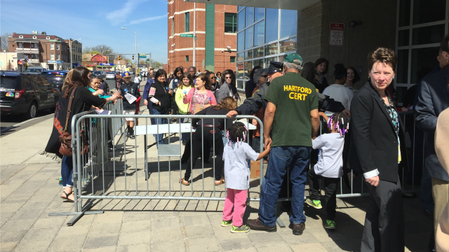 Clinton supporters line up for event in Hartford. (WFSB)
