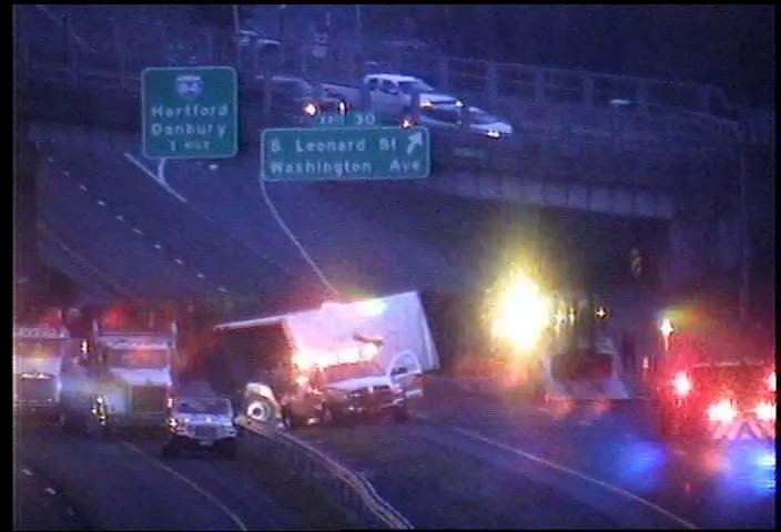 Tractor trailer crash on Route 8 in Naugatuck (Courtesy Conn. DOT camera)