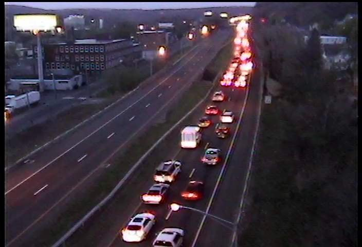 Traffic leading up to crash on Route 8 in Naugatuck.  (Courtesy Conn. DOT camera)