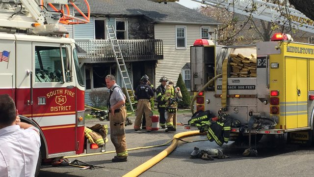 Firefighters battled a fire at a condominium complex on Long Hill Road in Middletown. (WFSB)