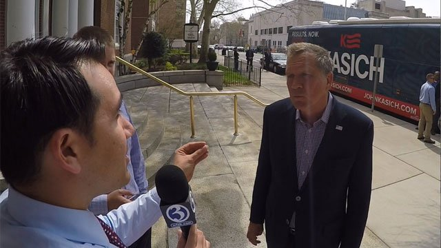GOP Presidential candidate John Kasich talks with Eyewitness News reporter Matt Campbell. (WFSB)
