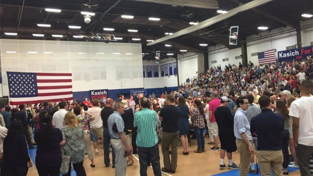 There was standing room only at Kasich Town Hall in Glastonbury. (WFSB)