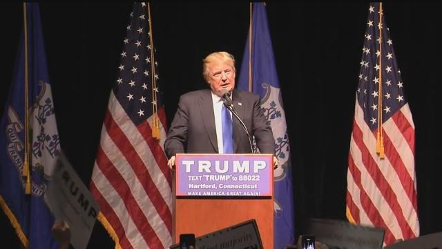 Trump spoke to thousands in Hartford earlier this month. (WFSB)