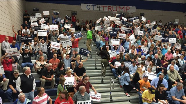 Trump supporters fill auditorium at Crosby High School. (WFSB)