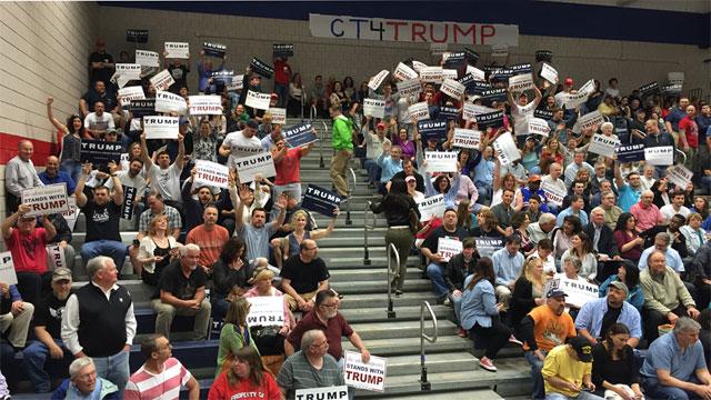 Trump supporters fill auditorium at Crosby High School. (WFSB)