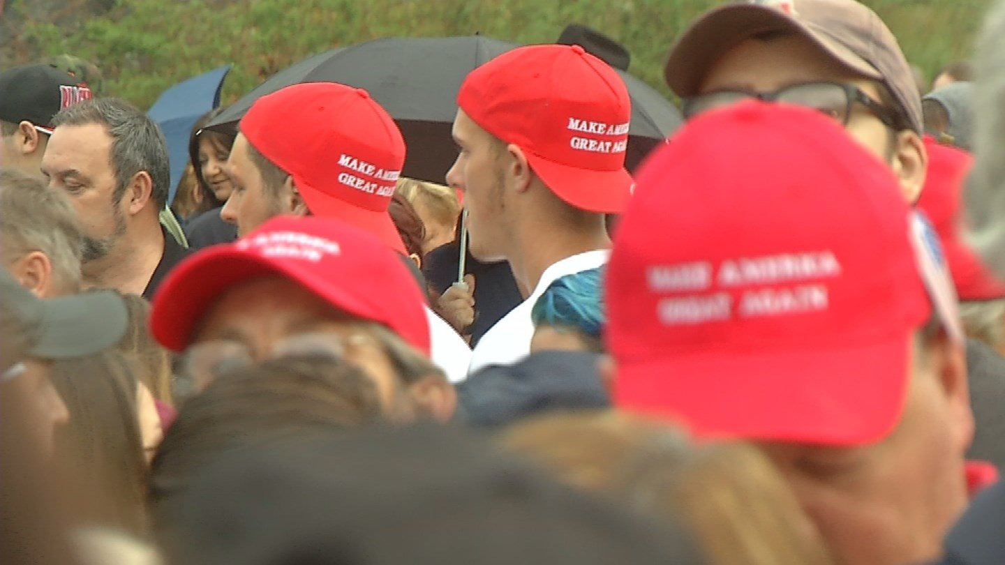 Trump supporters lined up early ahead of the Waterbury event on Saturday. (WFSB)