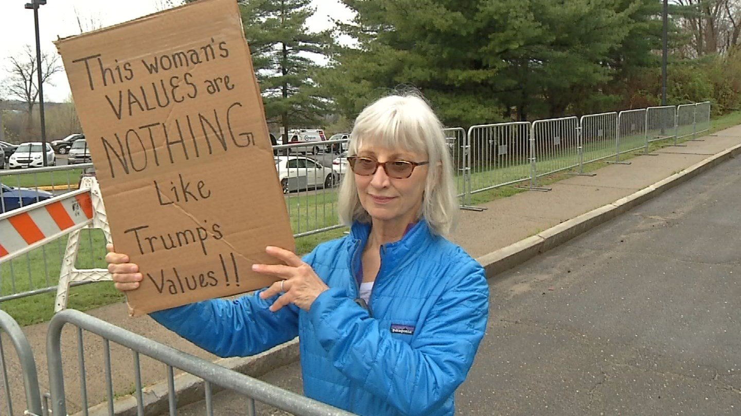 This woman protested against Donald Trump on Saturday. (WFSB)