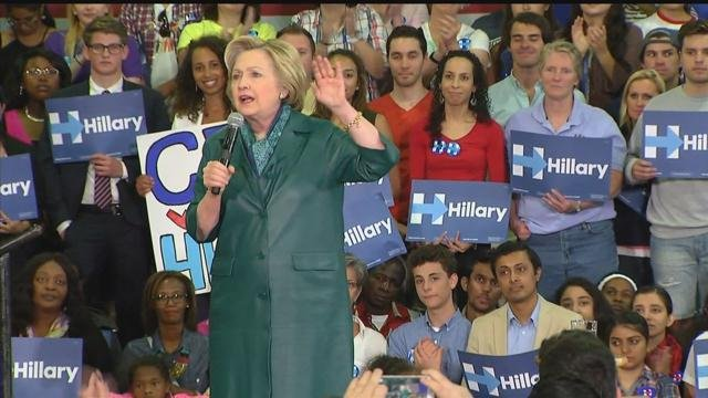 Hillary Clinton held a campaign rally in Bridgeport on Sunday. (WFSB)