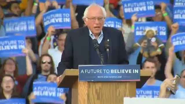 Bernie Sanders brought his campaign to New Haven on Sunday (WFSB)