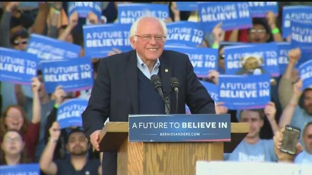 Democratic presidential candidate Bernie Sanders at a rally in New Haven Sunday.  (WFSB photo)