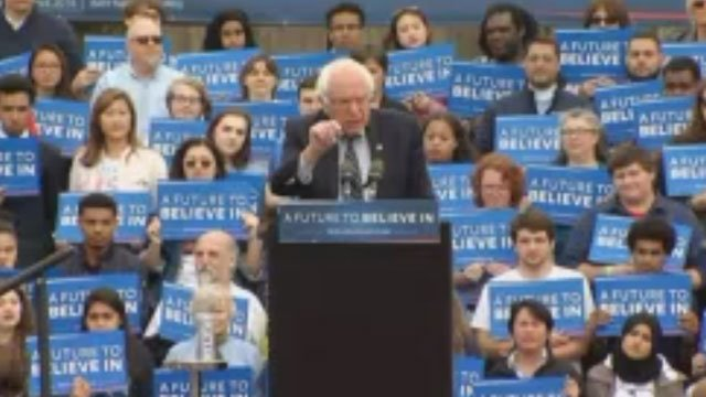 Bernie Sanders rallies in Hartford on Monday morning. (WFSB)