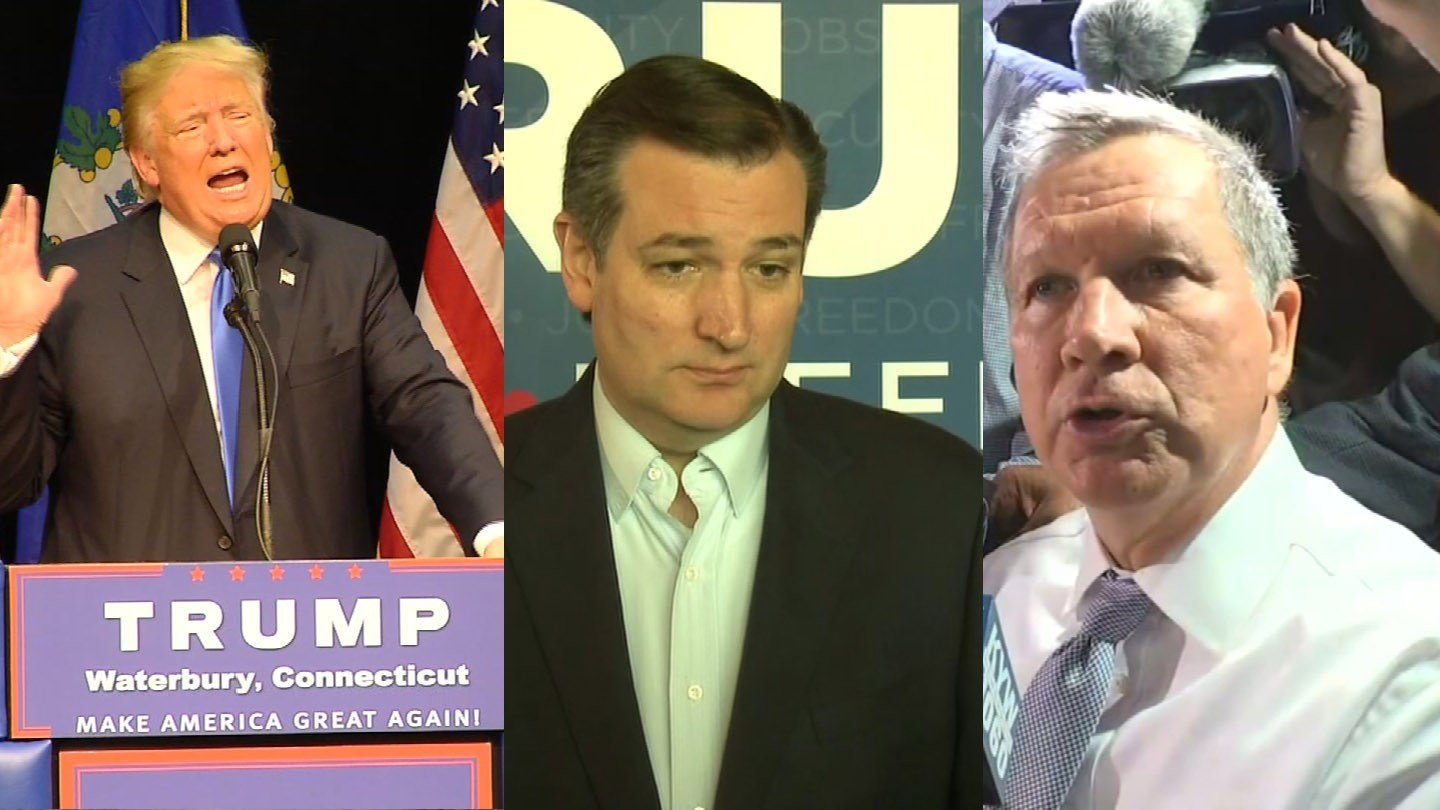 Connecticut Republican voters decide on Tuesday between Donald Trump, Ted Cruz and John Kasich. (WFSB/CNN photos)