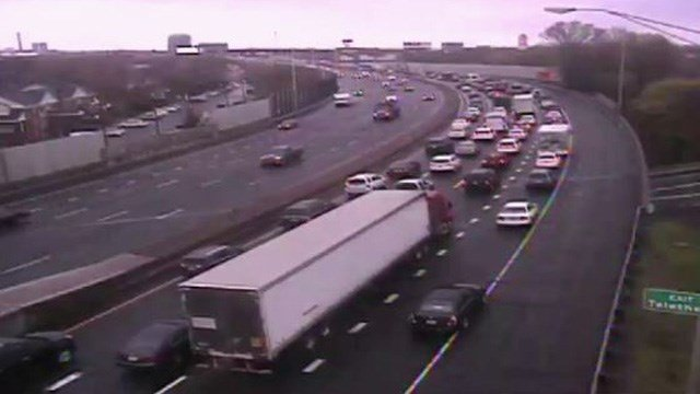 Traffic was backed up for 8 miles after a crash on I-91 south in New Haven. (DOT photo)
