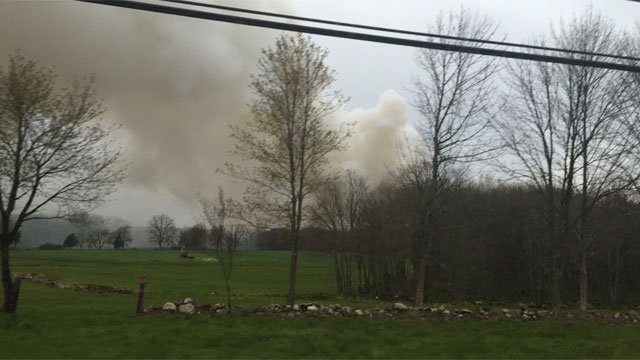 A fire broke out at a chicken coop at a Lebanon farm on Tuesday. (WFSB)