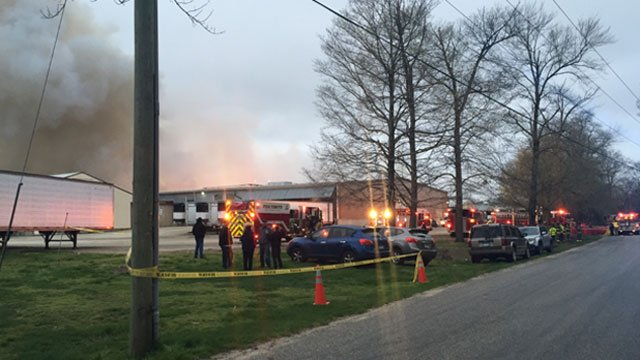 Twenty five different fire departments responded to a large fire that broke out at the Kofkoff Egg Farm in Lebanon on Tuesday. (WFSB)