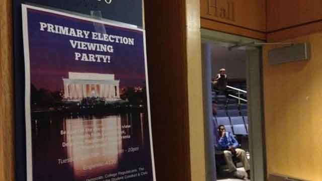 College Republicans and Democrats came together at Southern Connecticut State University on Tuesday night to watch the primary results come in. (WFSB)
